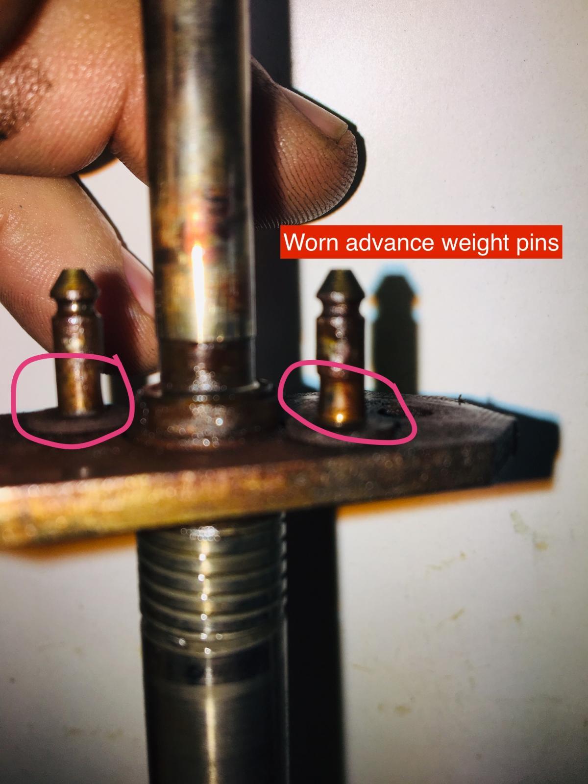 Distributor advance weight pin wear