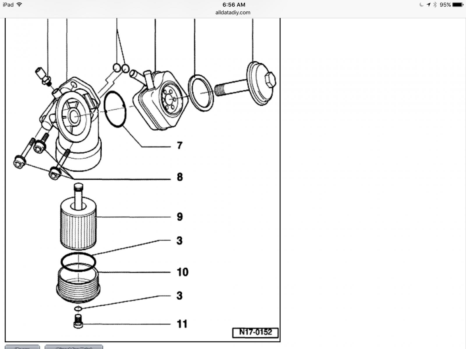 T4 EuroBus oil filter cooler detail