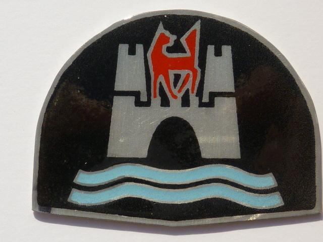 reproduction 58-59 Ghia horn ring cover badge
