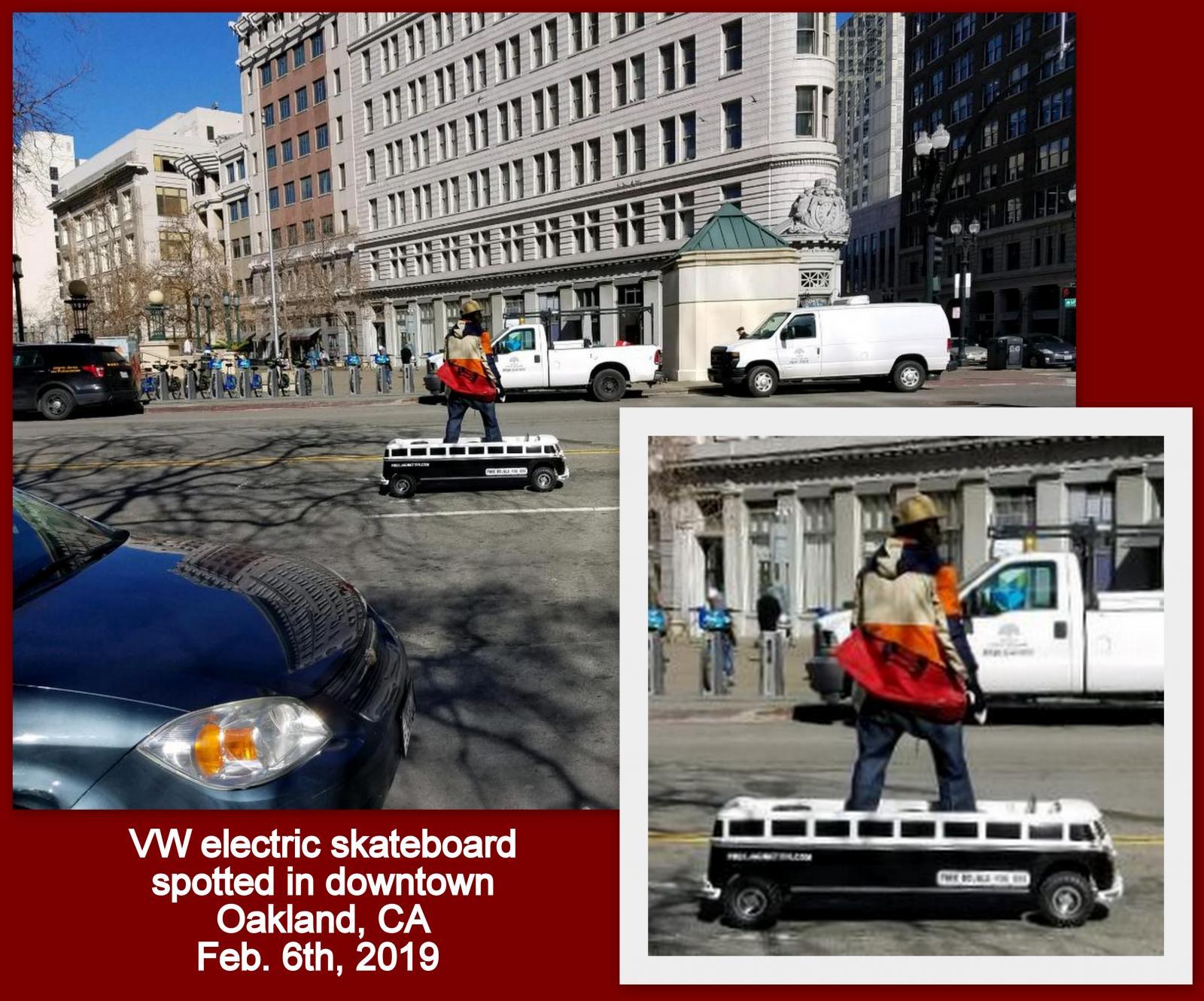 """""""Split Bus"""" electric skateboard device in downtown Oakland, CA"""