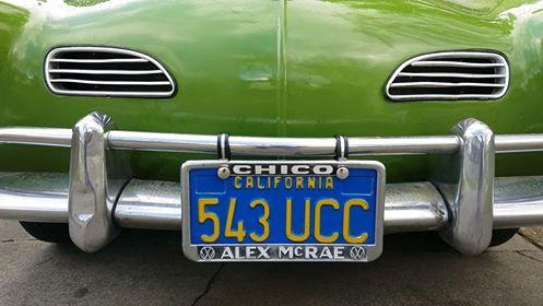 Licence Plate Frame:  Alex McRae VW in Chico, CA