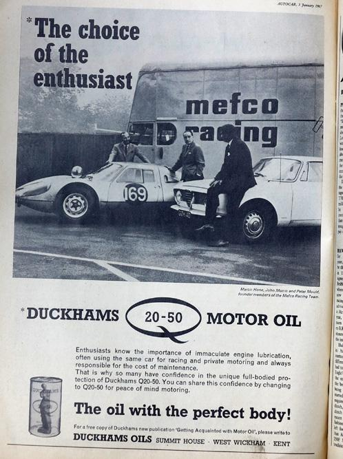 old oil ad with Porsche and Alfa