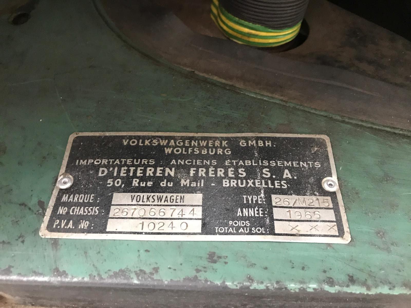 1966 Single Cab engine area VIN plate