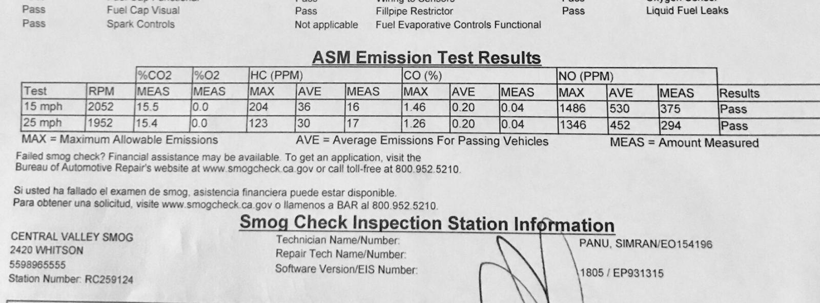 First smog check results Mojave Desert Westy