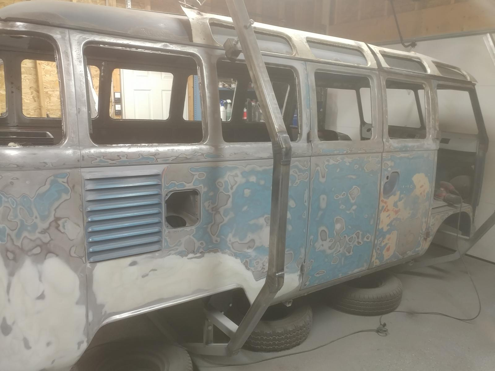 Sanding the bus body