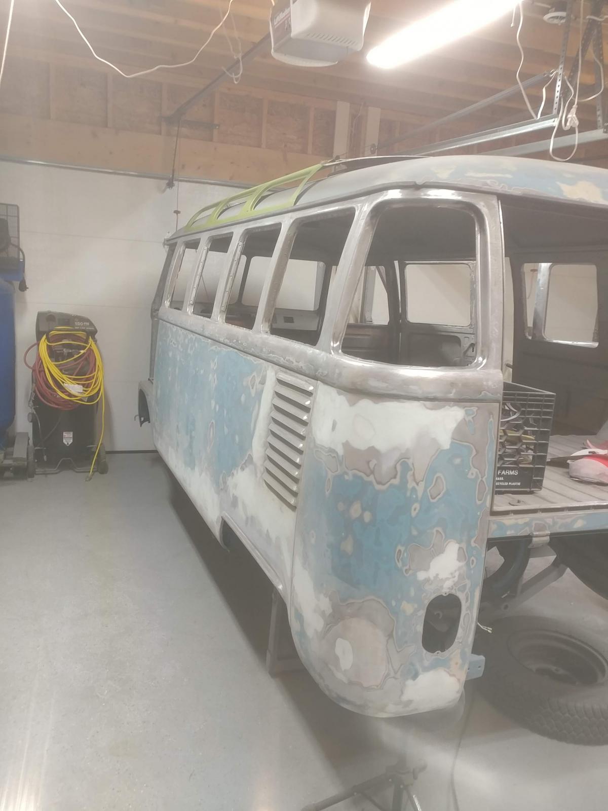 Sanding the bus body