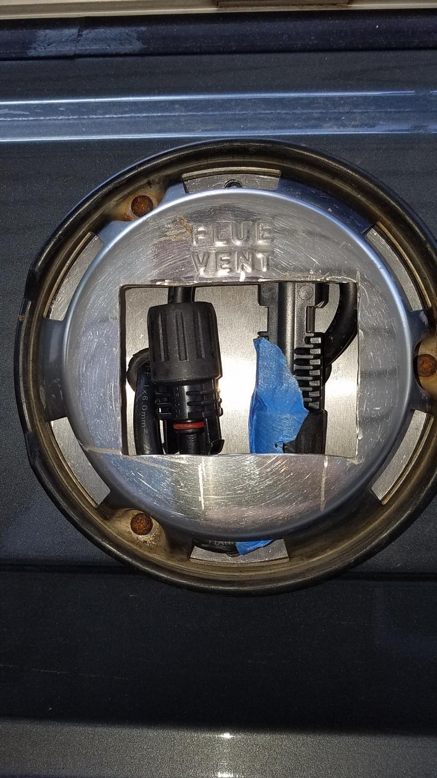solar wiring through flue