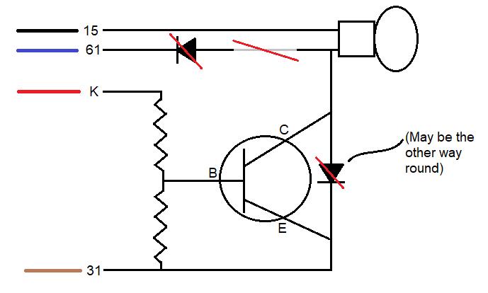 Thing failed Brake warning lamp - inner workings