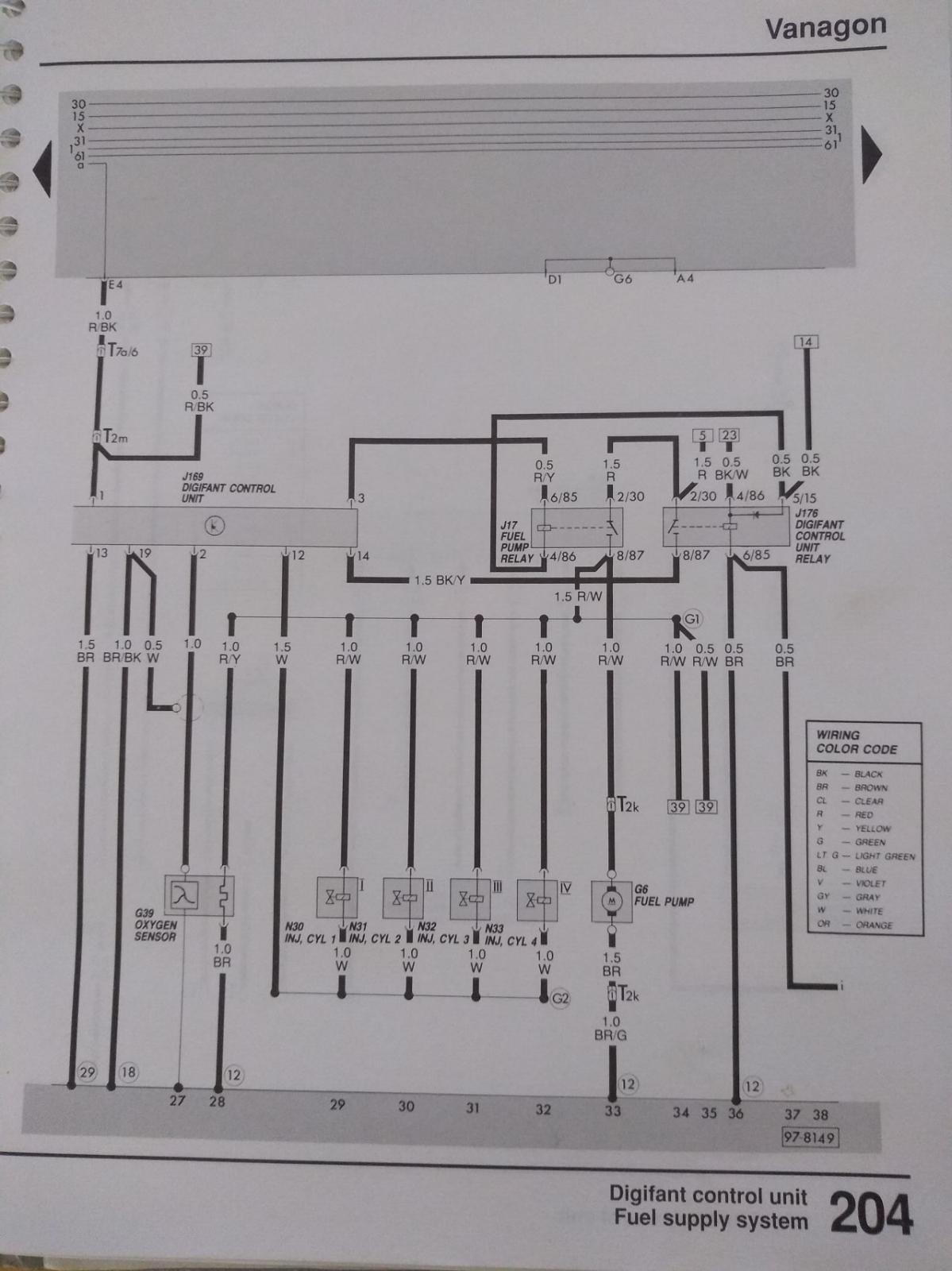 Digifant harness, 5 pin ECU relay type, 1988/89