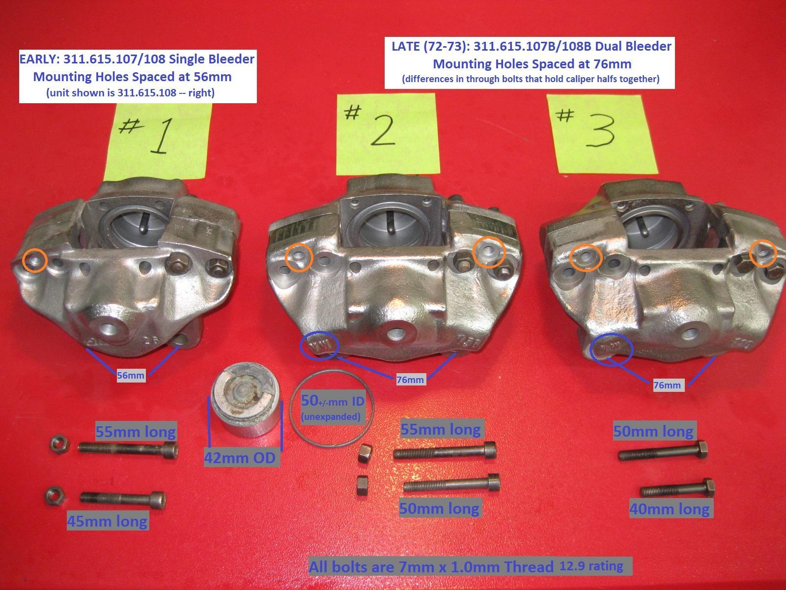 Type 3 Caliper: Early vs Late & Hex Head vs Socket Head Cap Screws