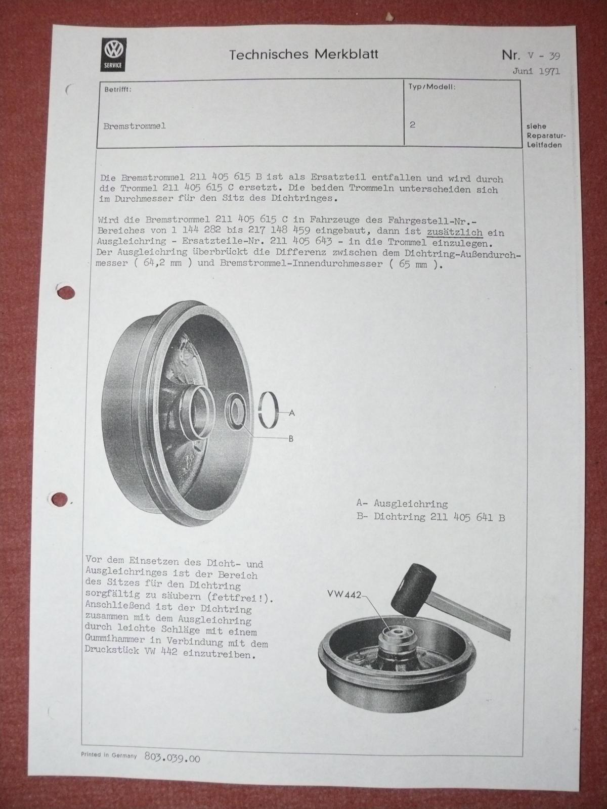 Technical bullitin late brake drum changes