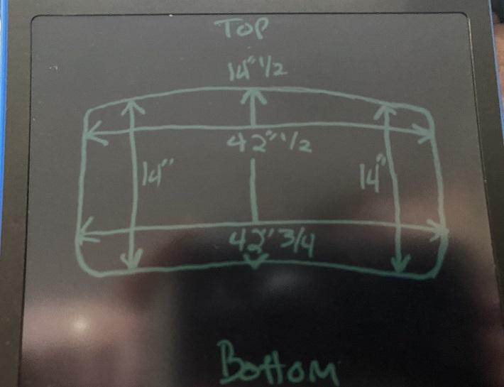 Measured dimensions of windshield frame for 67 convertible Beetle