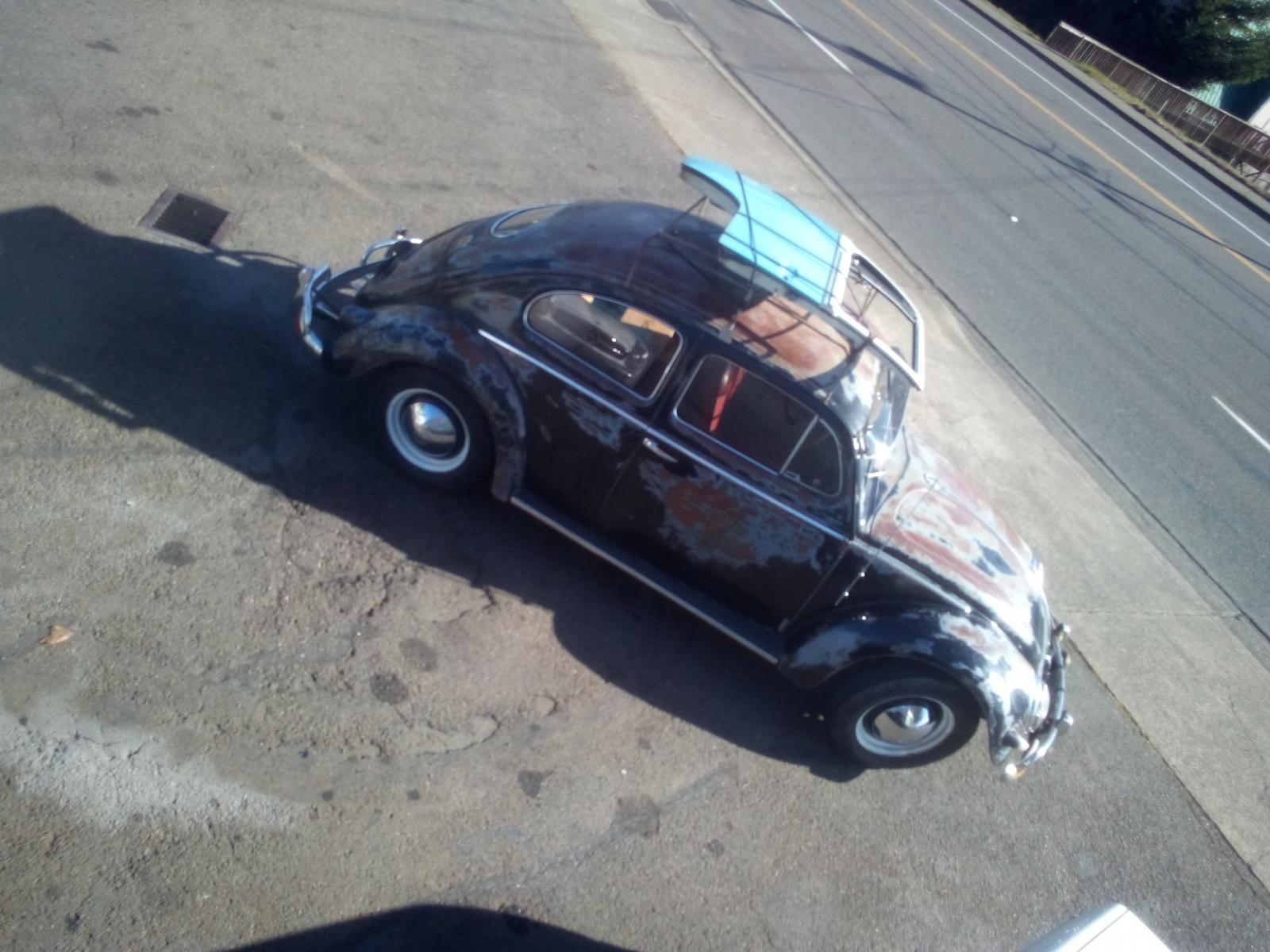 1956 beetle hauling a bay window door