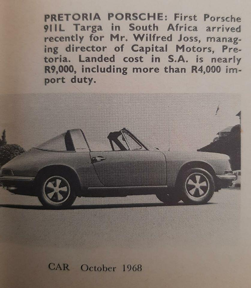 First 911L Targa in South Africa
