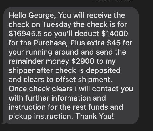 Text scammer example