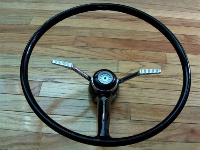 Customized 60's steering wheel, single spoke horn clock