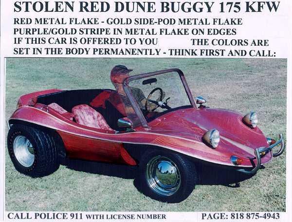 Front View of Stolen dune buggy.