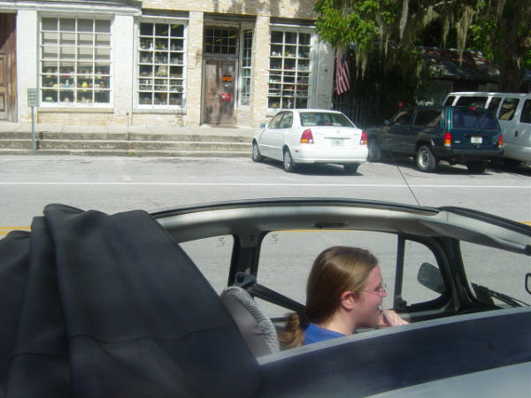 Lauren pimpin' the roll-back top in down town Micanopy