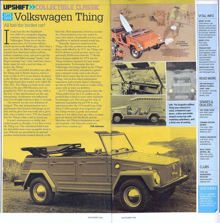 November 2006 Automobile Magazine Article on The Thing