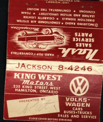 vw 1950 matchbook