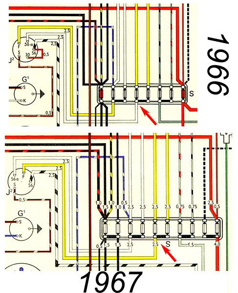 Thesamba beetle 1958 1967 view topic error in 66 wiring 1966 and 1967 wiring diagram for the bug image may have been reduced in size click image to view fullscreen publicscrutiny Gallery