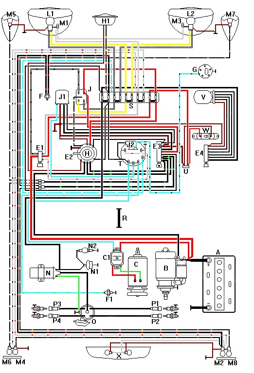 405742 vw super beetle wiring harness color coded diagram volkswagen vw wiring harness at crackthecode.co