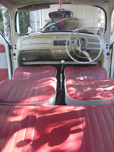Camper interior bug with recliner seats that are flat