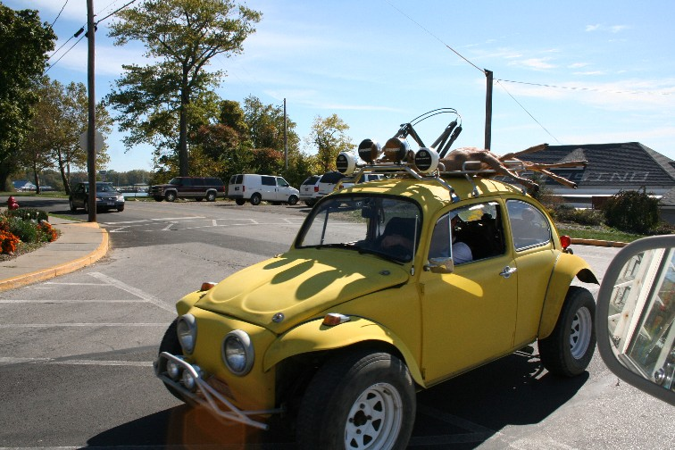 Baja Beetle with Dead Deer on the roof rack