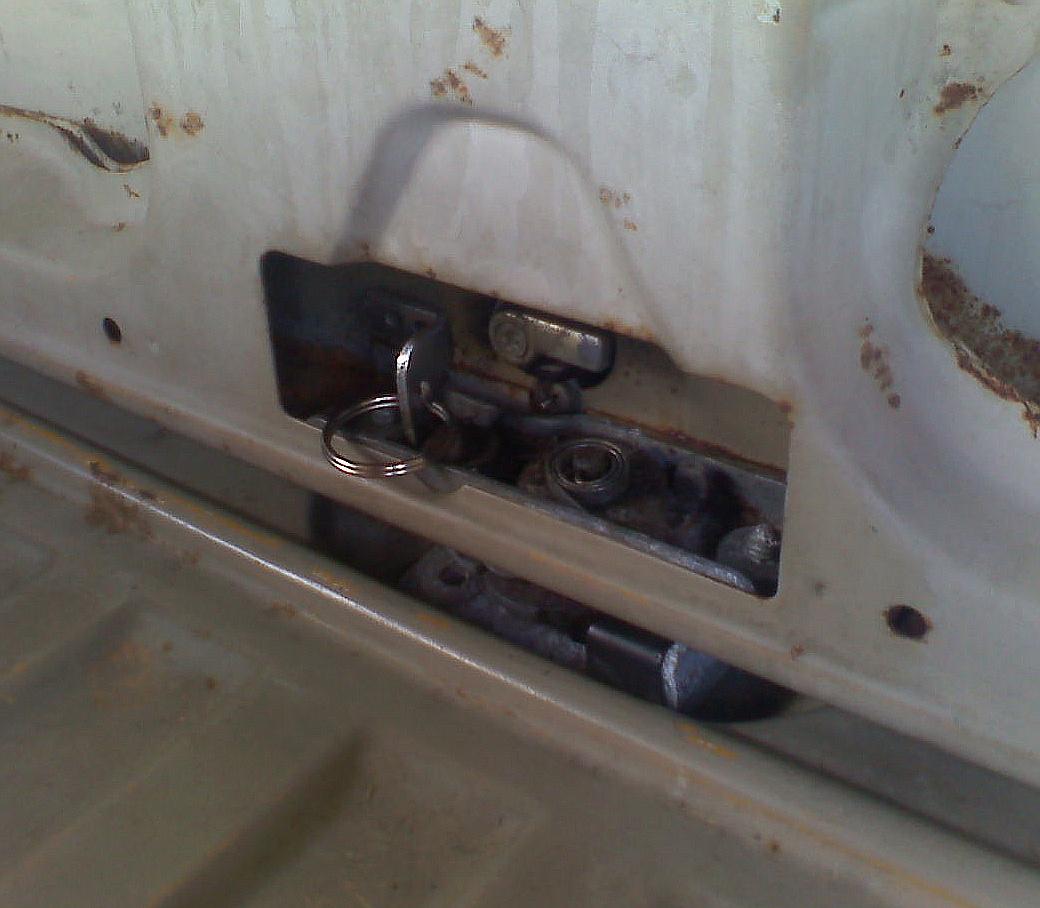 Interior rear hatch pull.