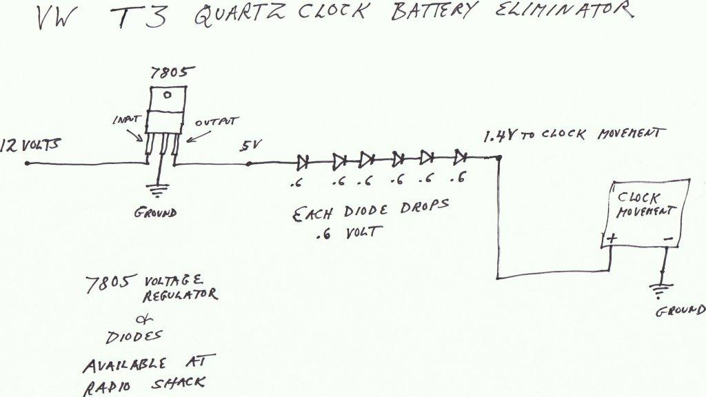 T3 quartzs clock battery eliminator