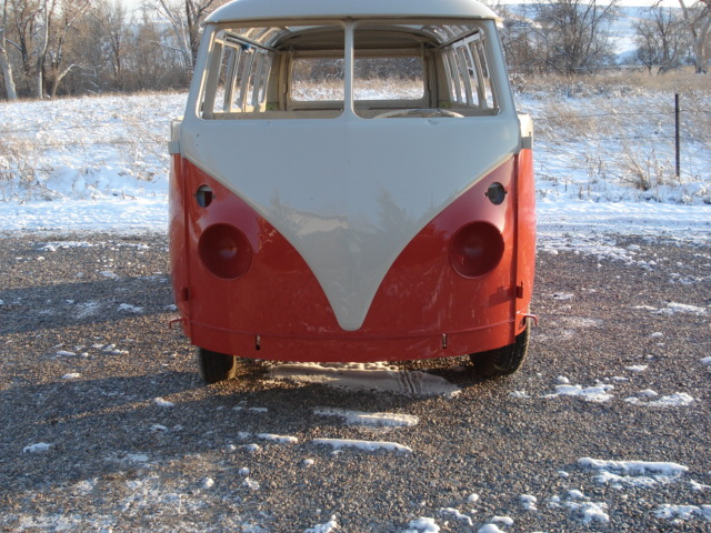 1964 bus after the new paint job-mid way thru restoration