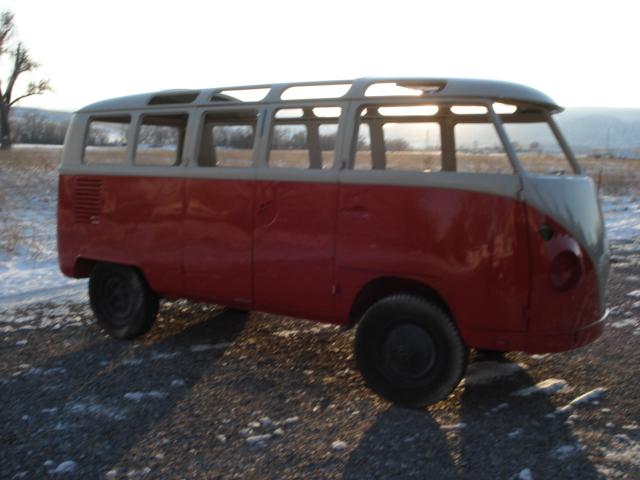 1964 bus after the new paint job-mid way thru restoration