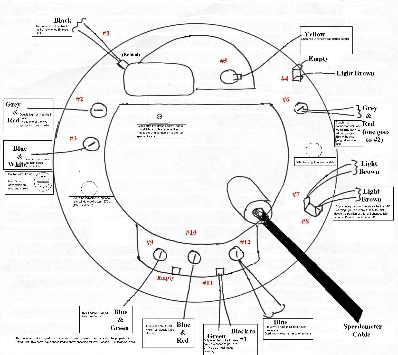 Tachometer Diagram Volkswagen 1973 Wiring Diagrams 2010 Camaro Headlight Wire Thesamba Com Beetle Late Model Super 1968 Up View Schematic