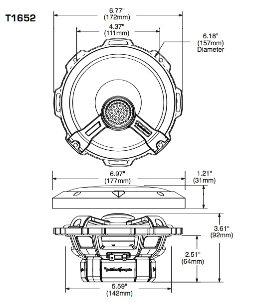 Example speaker dimensions