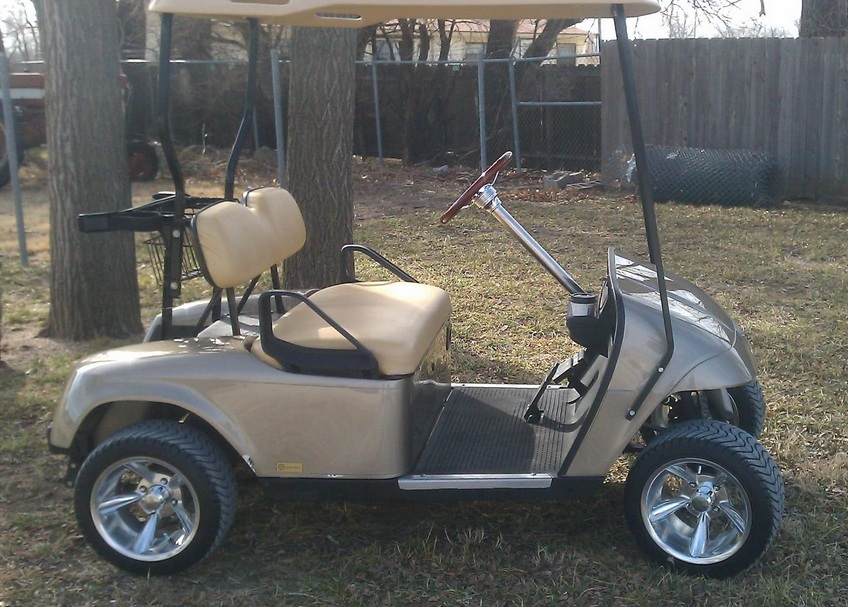 custom silver golf cart, custom car golf cart, custom red golf cart, custom black golf cart, custom body golf cart, custom paint golf cart, custom graphics golf cart, on custom metal flake golf cart