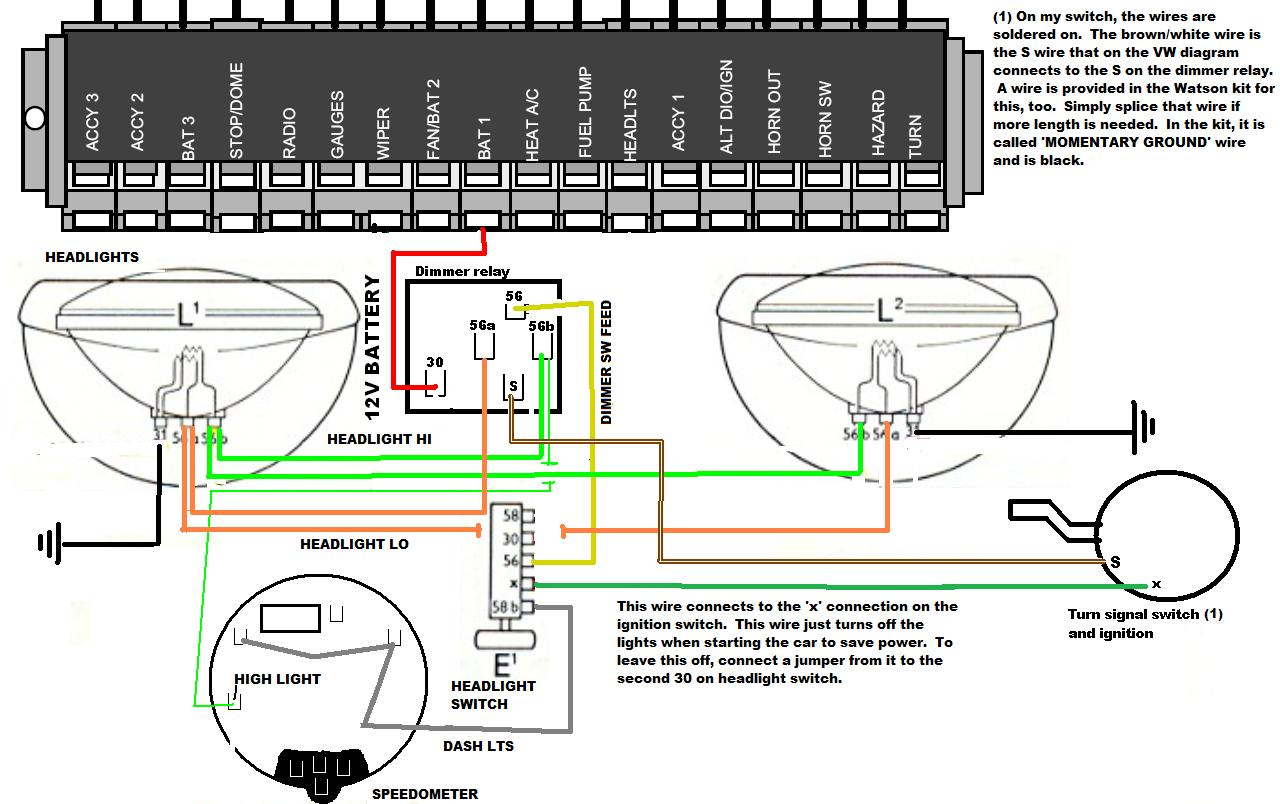 Headlight Wiring Diagram : Vw beetle headlight switch wiring diagram