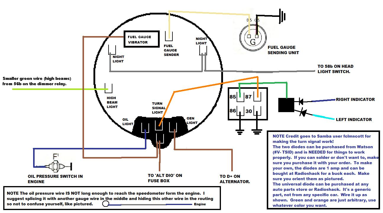 Ford Tachometer Wiring Simple Guide About Diagram Fuel Gauge For F150 Thesamba Com Beetle Late Model Super 1968 Up View