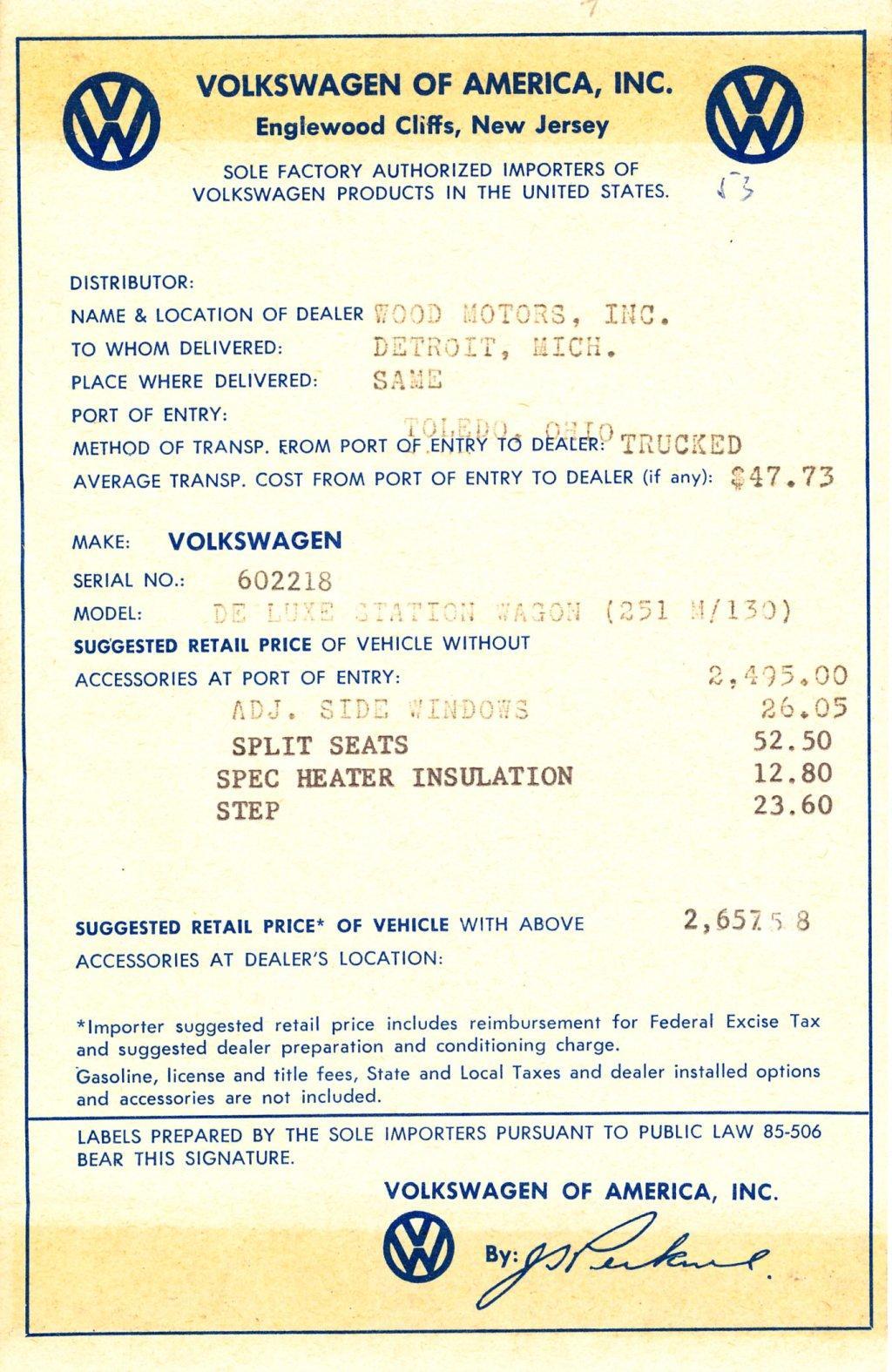 TheSambacom Gallery Wood Motors Detroit MI Dealer Invoice - Vw dealer invoice
