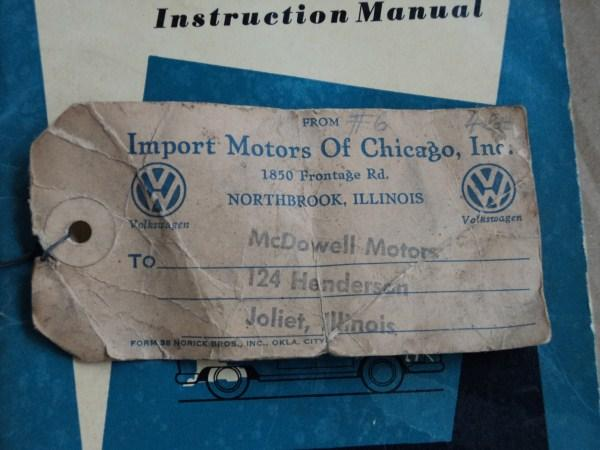 VW Distributor to Dealer Shipping Tag
