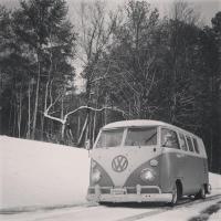 Alabama Lowered Bus Shasta Snow Trip