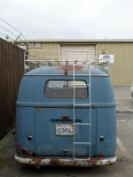 split bus woodslat roof rack and folding ladder