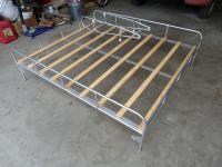 split bus woodslat roof rack and folding ladder
