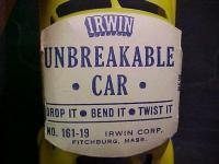 Irwin plastic toy car