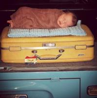 my son Holden in the Bus newborn photo session