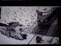 OVAL WINDOW  VS,  VW TRAIN  CARTOON