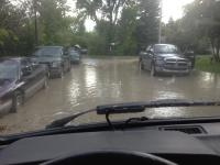 Westy driving from flood