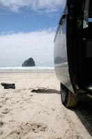 van at the beach