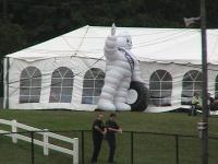 The Michelin Man, waving at all the drivers