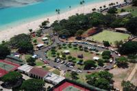 AERIAL VIEW OF ALA MOANA BEACH & VWH CAR SHOW