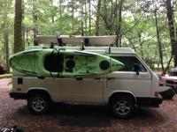 Thule Hulivator Kayak Carrier on top of Syncro Westfalia Camper